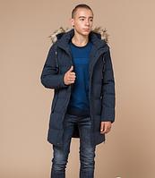 Удлиненная зимняя куртка Braggart Youth темно-синяя топ реплика