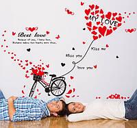 Интерьерная наклейка - Велосипед и сердечки  ( 114х86см)