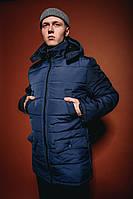 Мужская зимняя куртка с капюшоном темно синяя отличного качества