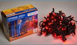 Светодиодная наружная гирлянда DELUX STRING 100LED 10m 20flash(черный провод,красный цвет диода)