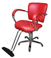 Парикмахерское кресло с подставкой для ног (Красное)