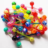 Штанга акриловая для пирсинга языка с шариками (набор 4 шт.)., фото 1
