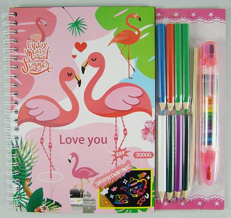 """Набор для творчества с гравюрами и раскрасками """"Фламинго"""" в комплекте с карандашами и стилусом 20х22 см, фото 2"""