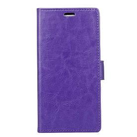 Чехол книжка для Huawei Honor 10 Lite боковой с отсеком для визиток, Гладкая кожа, фиолетовый