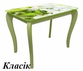 Стіл обідній на дерев'яних опорах фотодрук ДКС-Класік Антонік