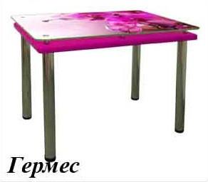 Стіл обідній на дерев'яному каркасі з металевими ніжками фотодрук Гермес Антонік