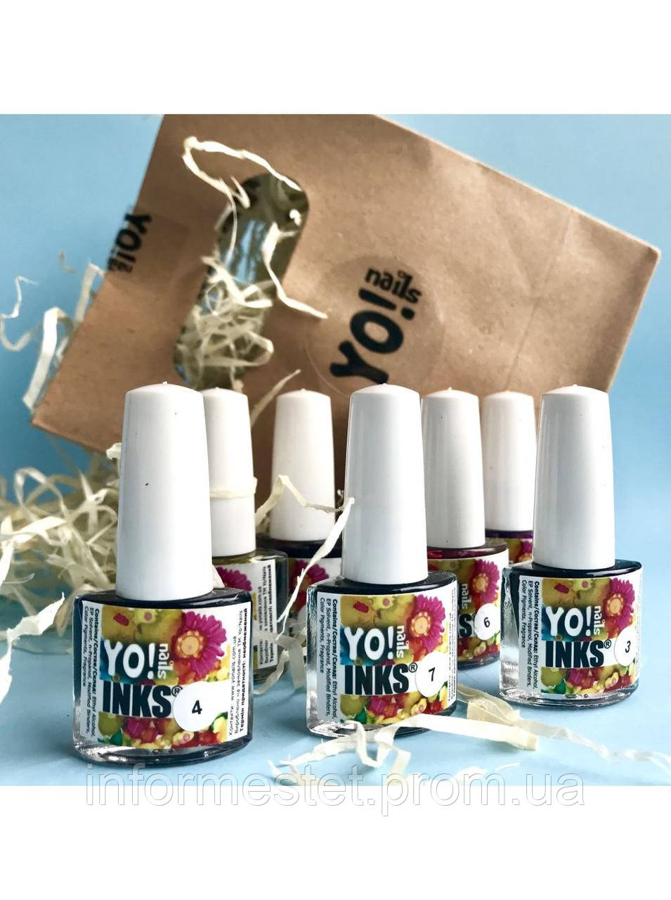 Набор чернил Yo nails Inks , 8 цветов, 5 мл