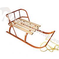 Санки детские складная спинка + веревка, фото 1