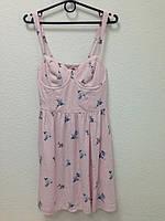 Женское летнее розовое мини платье с цветочным принтом Abercrombie & Fitch, фото 1