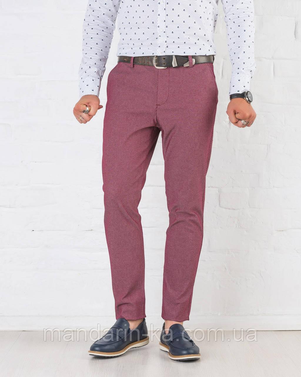 Мужские брюки зауженные Slim Fit слим фит бордовые