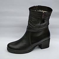 Зимние ботики на каблуке на широкую ногу. Galant. Польша. Натуральная кожа.