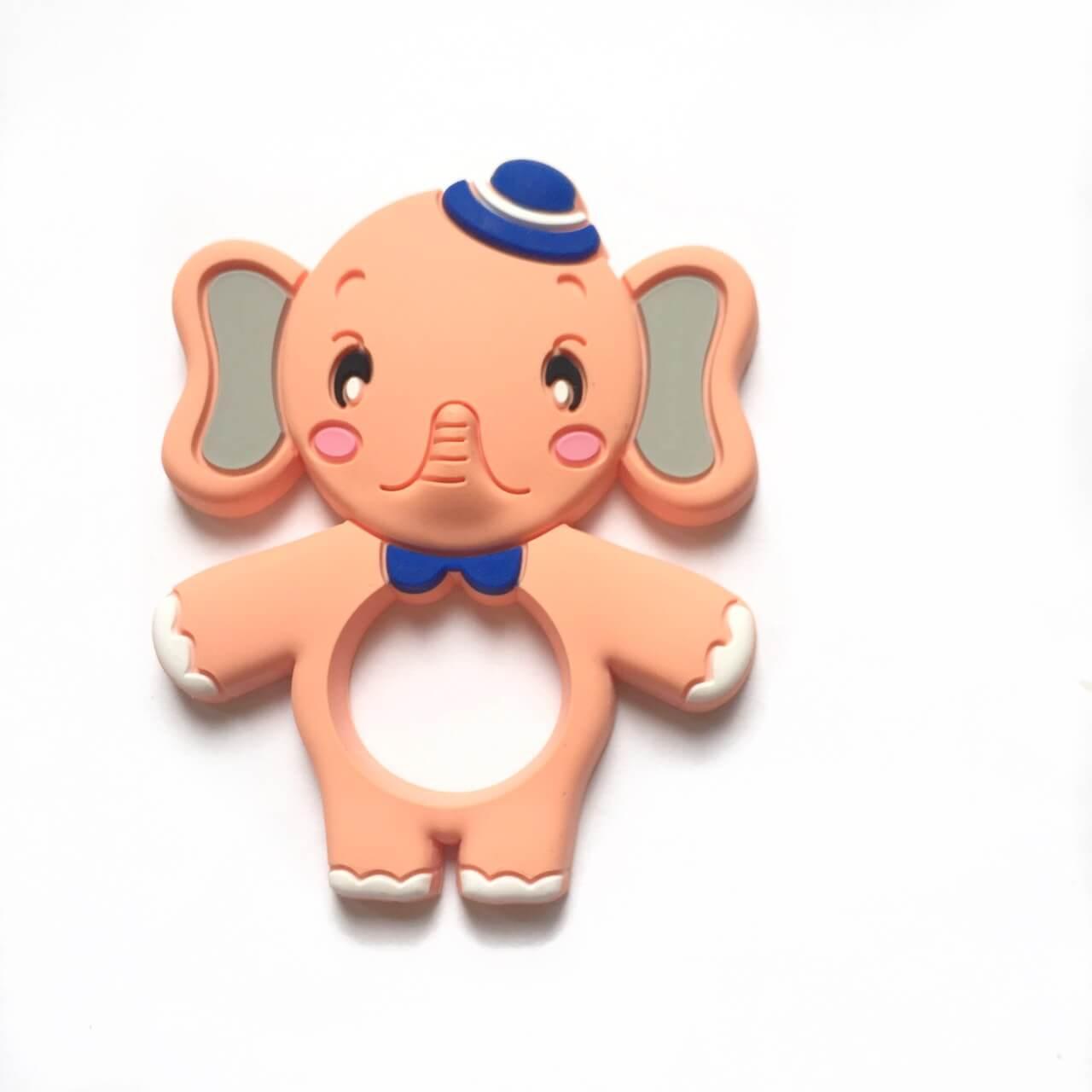 Слон со шляпкой (силиконовые грызунки), персик