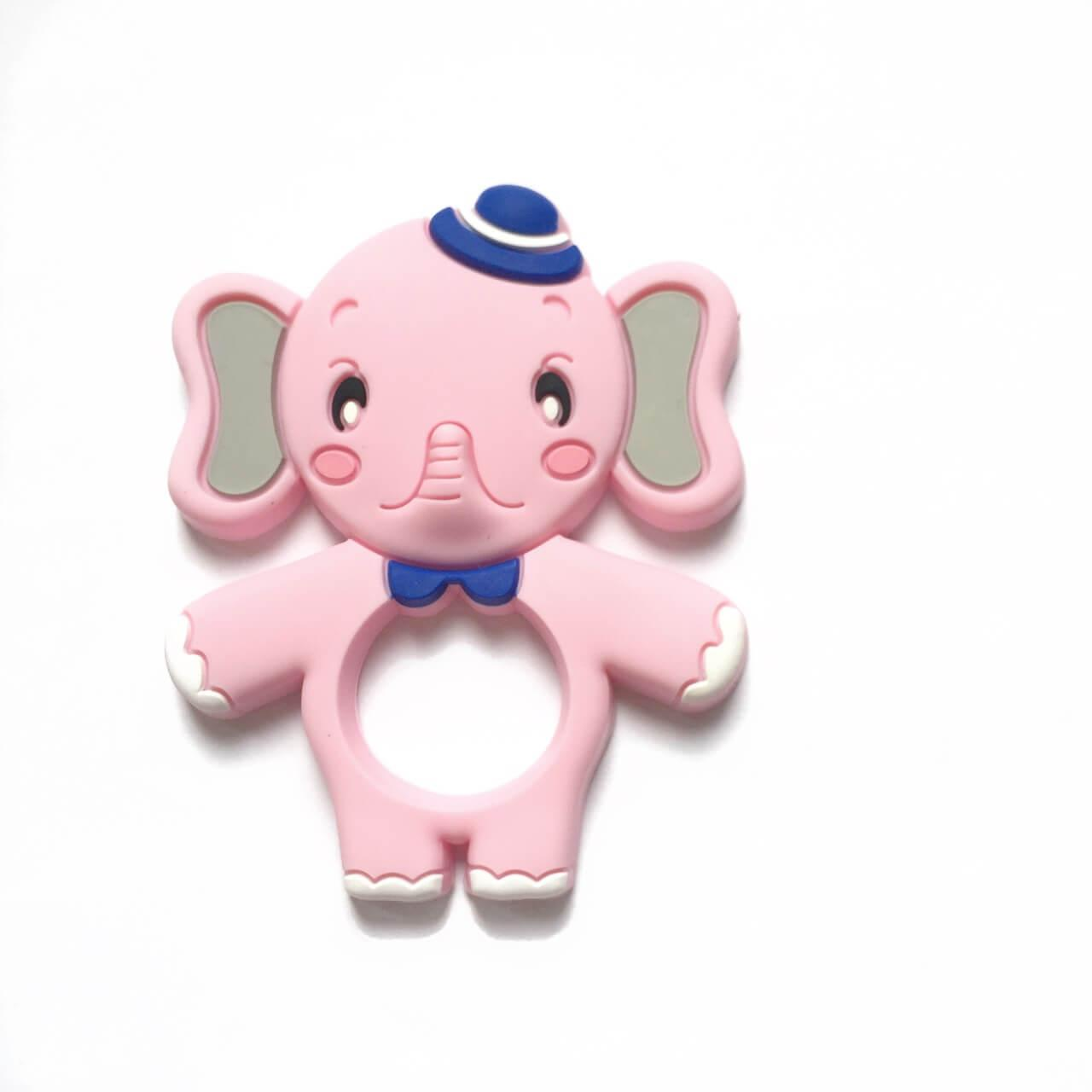 Слон со шляпкой (роза кварц) (силиконовые грызунки)