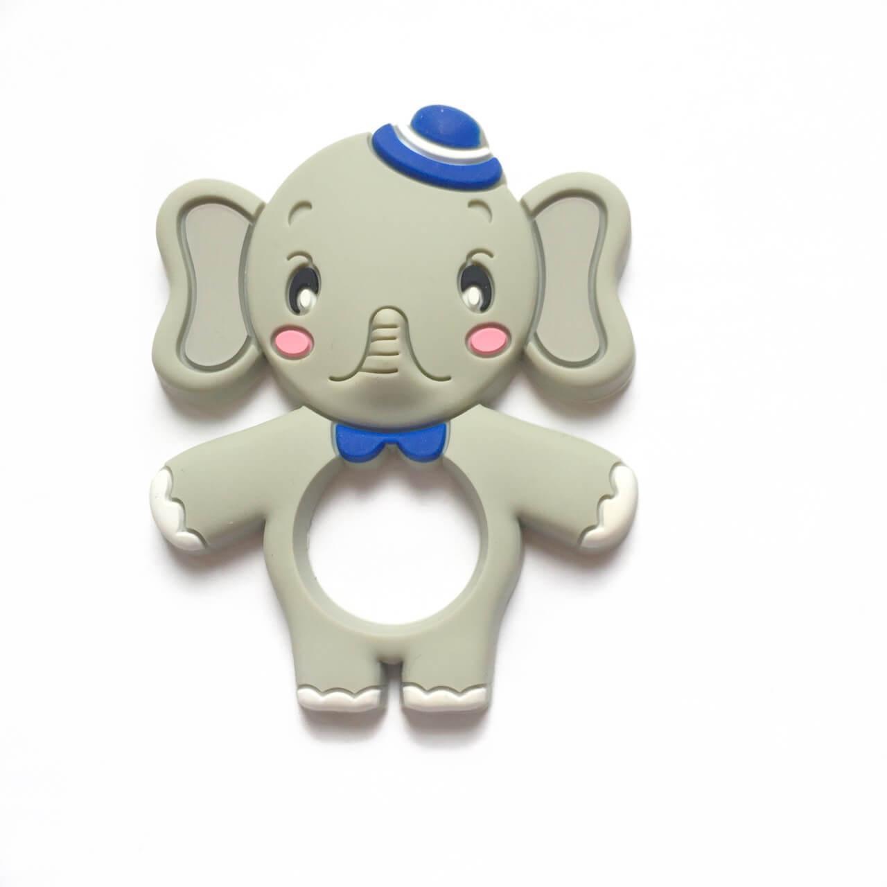 Слон со шляпкой (силиконовые грызунки) светло-серый