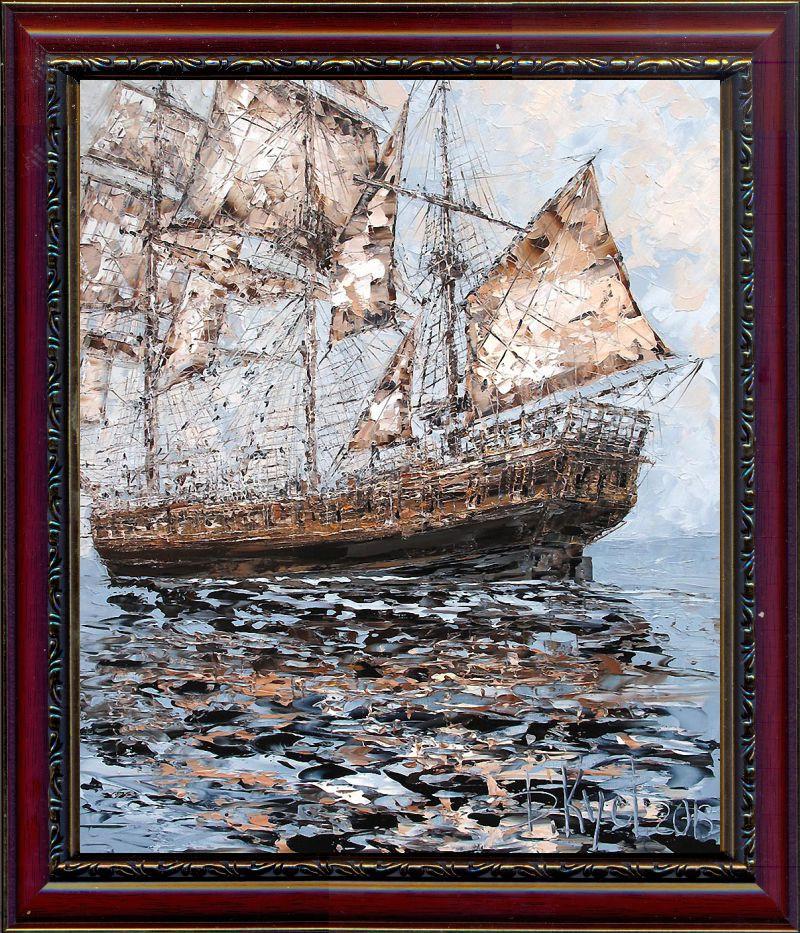 Репродукция  современной картины  «В дальние края III» 30 х 25 см