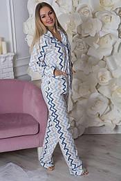 Пижама фланелевая П703 Синий зиг-заг