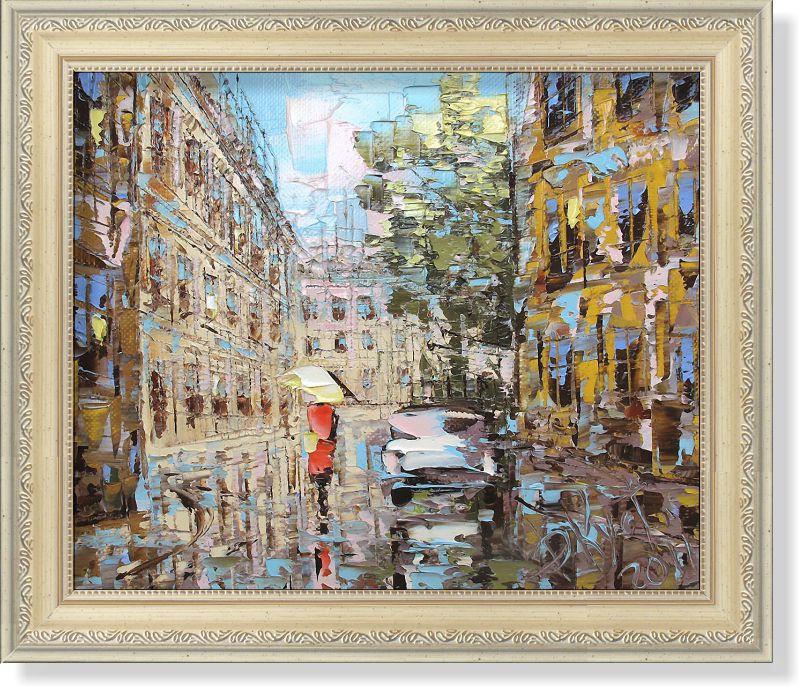 Репродукция  современной картины  «Городской дождь» 30 х 25 см