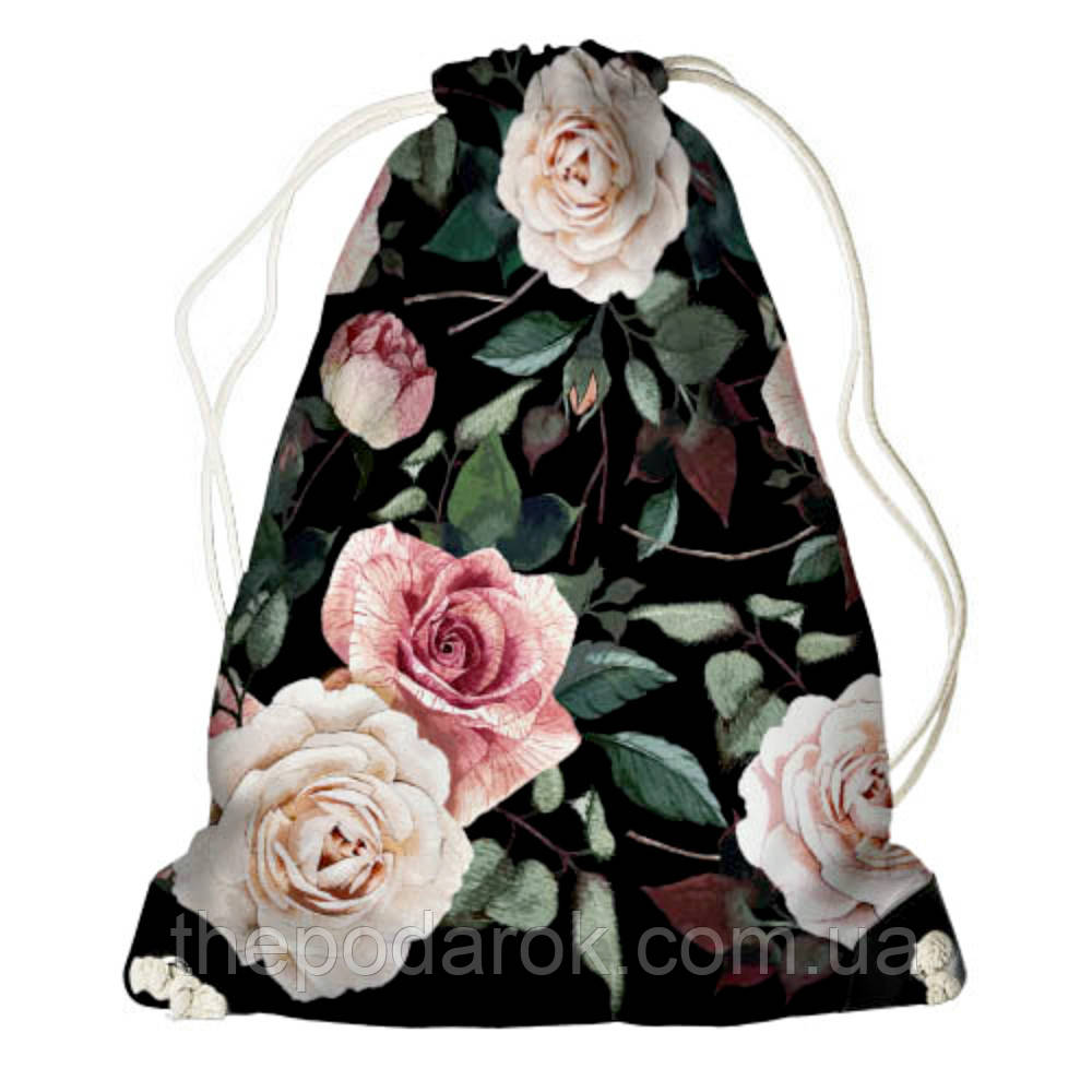 Рюкзак мешок 33х45см розы дарк