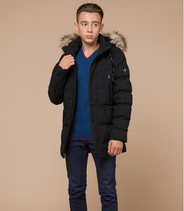 Куртка зимняя молодежная с мехом Braggart Youth черного цвета топ реплика, фото 2