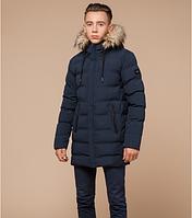 Куртка зимняя молодежная с мехом Braggart Youth синего цвета топ реплика