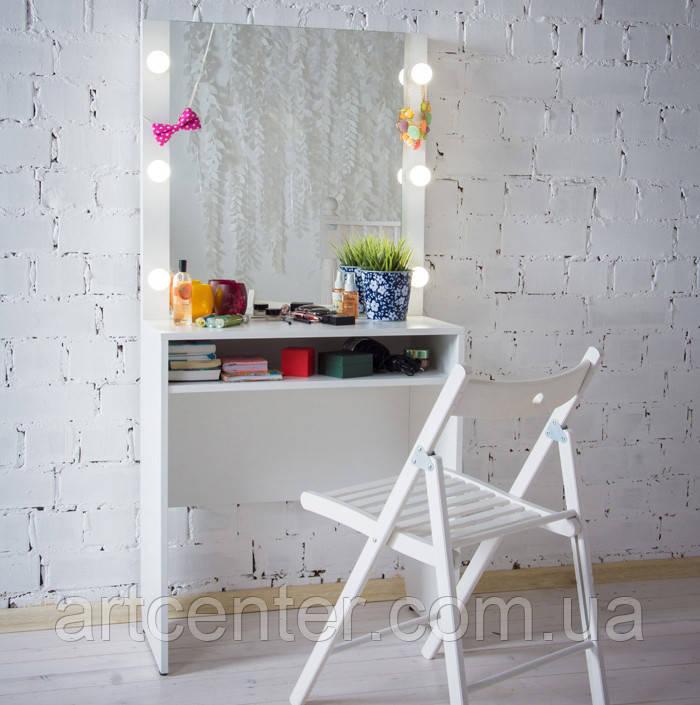 Гримерный стіл, туалетний стіл з дзеркалом, стіл для макіяжу c полицею