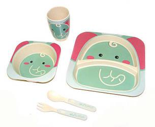 Набор детской посуды  бамбуковой 5 предметов Eco Bamboo fibre kids set N02328 Turquoise
