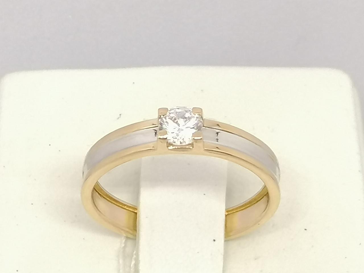 Золотое кольцо с фианитом. Артикул 141071 16,5