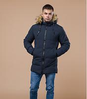 Куртка зимняя молодежная Braggart Youth темно-синяя с капюшоном топ реплика