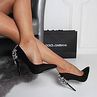 Нарядные туфли лодочки черные пятка декор, фото 1