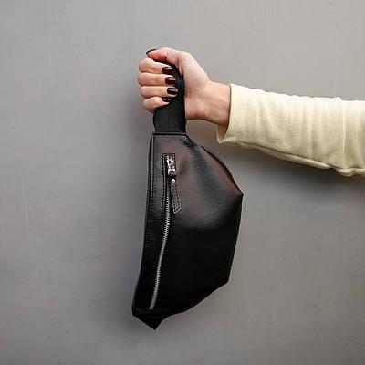 Поясная сумка бананка женская черная кожзам Джой (Joy) от бренда ТУР