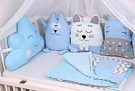 Комплект в дитяче ліжечко з тваринками в синіх тонах, фото 2