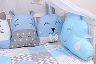 Комплект в дитяче ліжечко з тваринками в синіх тонах, фото 5