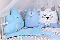 Комплект в детскую кроватку с зверюшками в синих тонах, фото 3