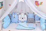 Комплект в детскую кроватку с зверюшками в синих тонах, фото 4