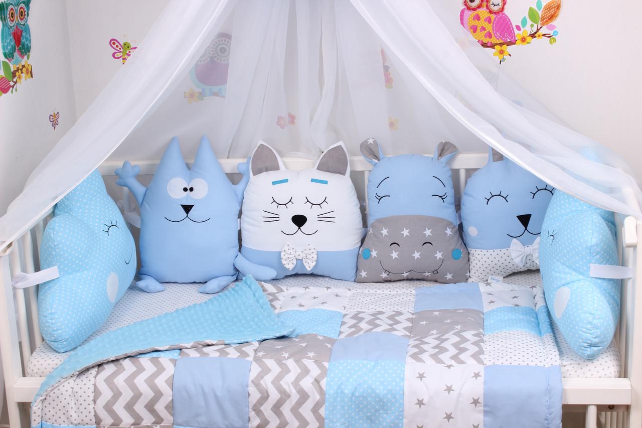 Комплект в детскую кроватку с зверюшками в синих тонах