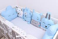 Комплект в дитяче ліжечко з тваринками в синіх тонах, фото 7