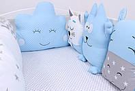 Комплект в детскую кроватку с зверюшками в синих тонах, фото 8