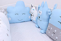 Комплект в дитяче ліжечко з тваринками в синіх тонах, фото 8