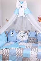 Комплект в детскую кроватку с зверюшками в синих тонах, фото 6