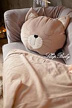 """Детский флисовый комплект плед и подушка """"Кошка"""" L плед (200*150) подушка (50*70)"""