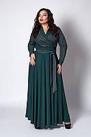 Платье мод №577-1, размер 52,54,56 бутылочное люрекс