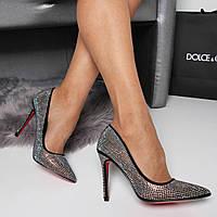 Туфли лодочки на каблуке в стразах хамелеон черные, фото 1