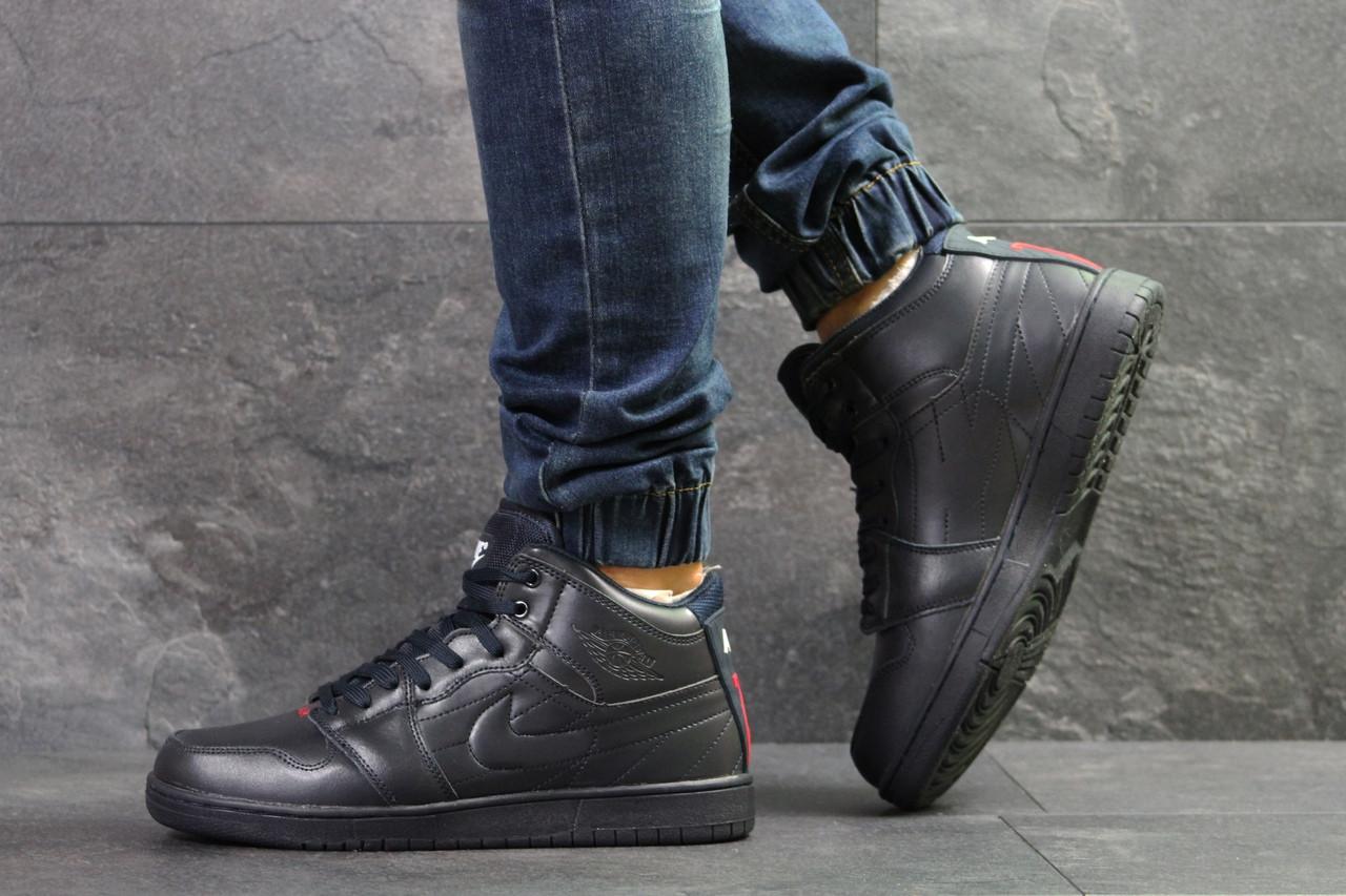 Мужские кроссовки прессованная кожа темно синие