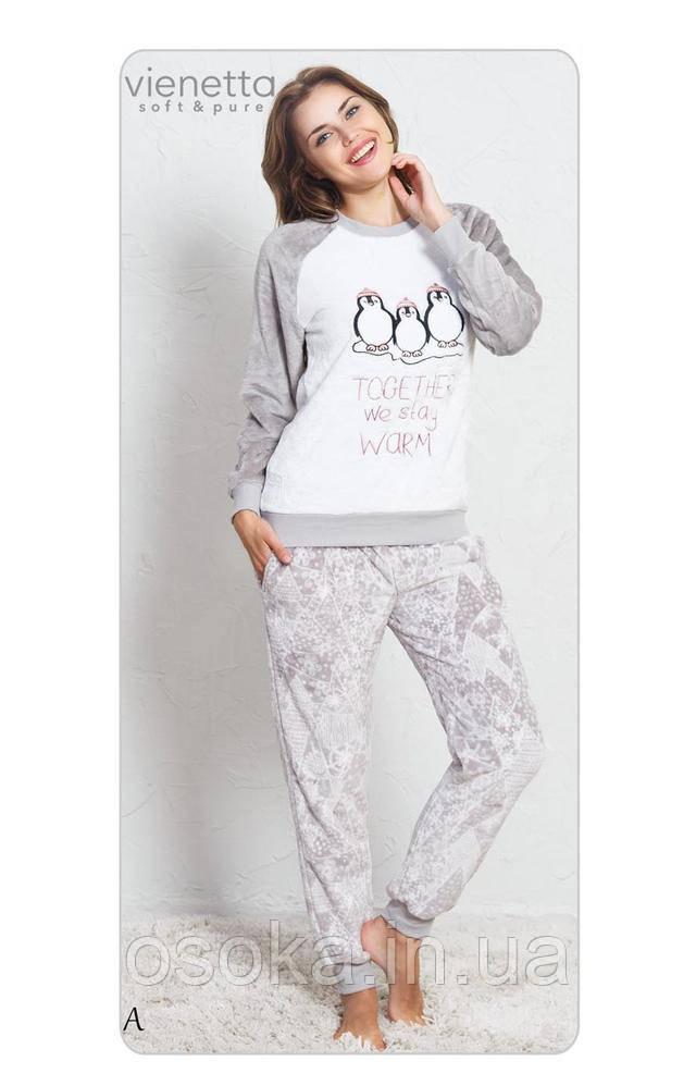 Теплая женская пижама с пингвинами Vienetta (Винетта) 3438 0678d6f71d609