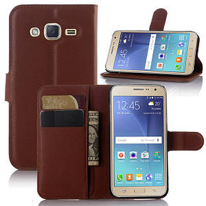 Чехол IETP для Samsung Galaxy J2 2015 / J200 книжка кожа PU коричневый