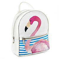 Городской рюкзак Фламинго 30х28х7см белый