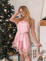 Платье нежное красивое из сетки в бархатный горошек с пышной юбкой и оборкой разные цвета Smslip2799, фото 1