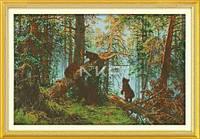 Шишкин Утро в сосновом бору Набор для вышивки крестом с печатью на ткани 14ст