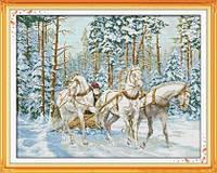 Тройка лошадей Набор для вышивки крестом с печатью на ткани 14ст