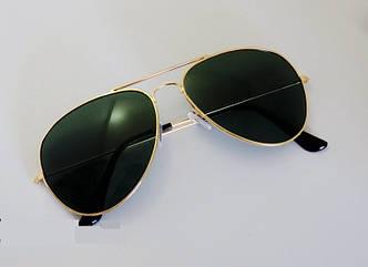 Очки TOP Aviator капли солнцезащитные Green G